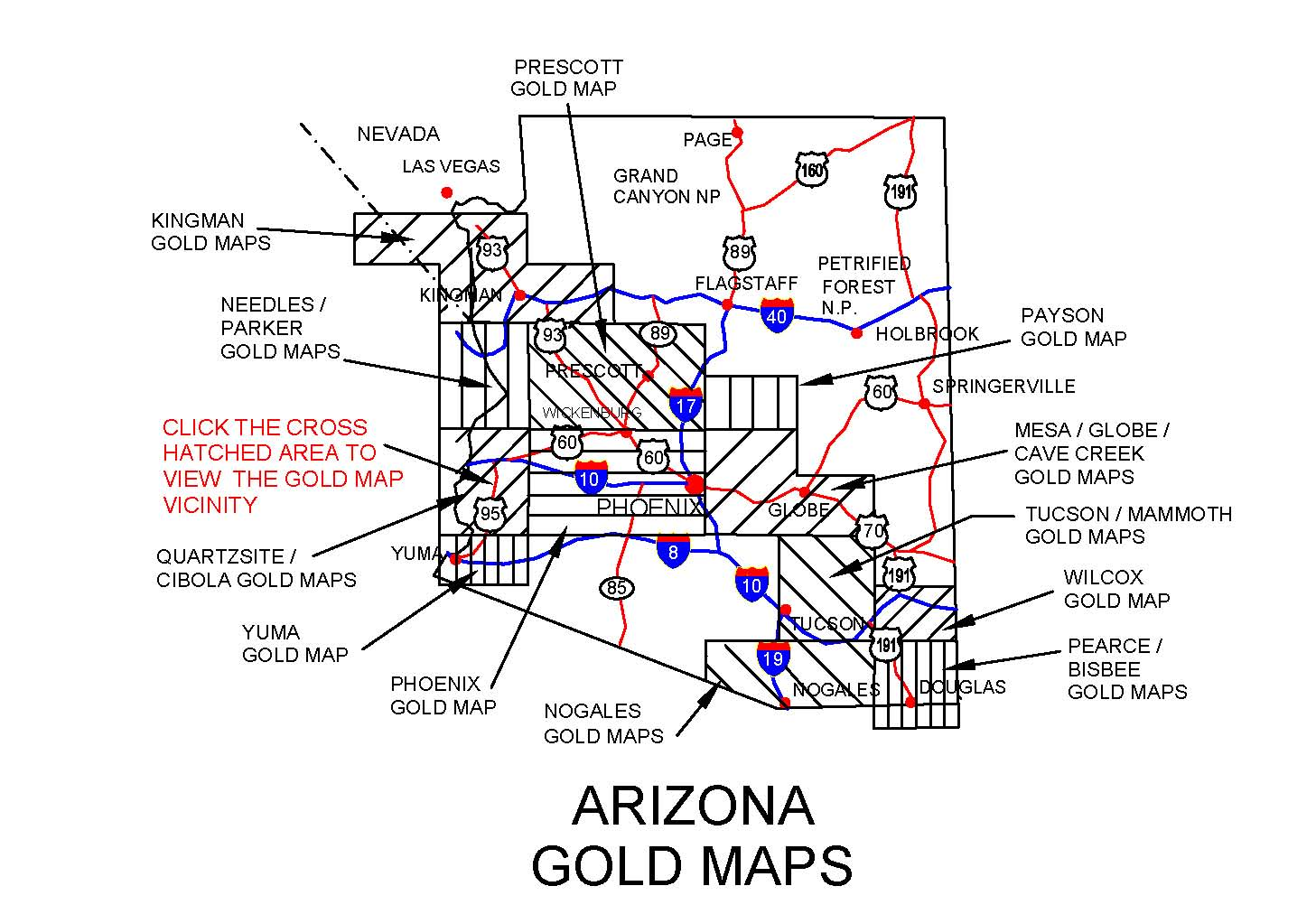 Gold In Arizona Map ARIZONA GOLD MAPS, ARIZONA GOLD PANNING, ARIZONA GOLD PLACERS