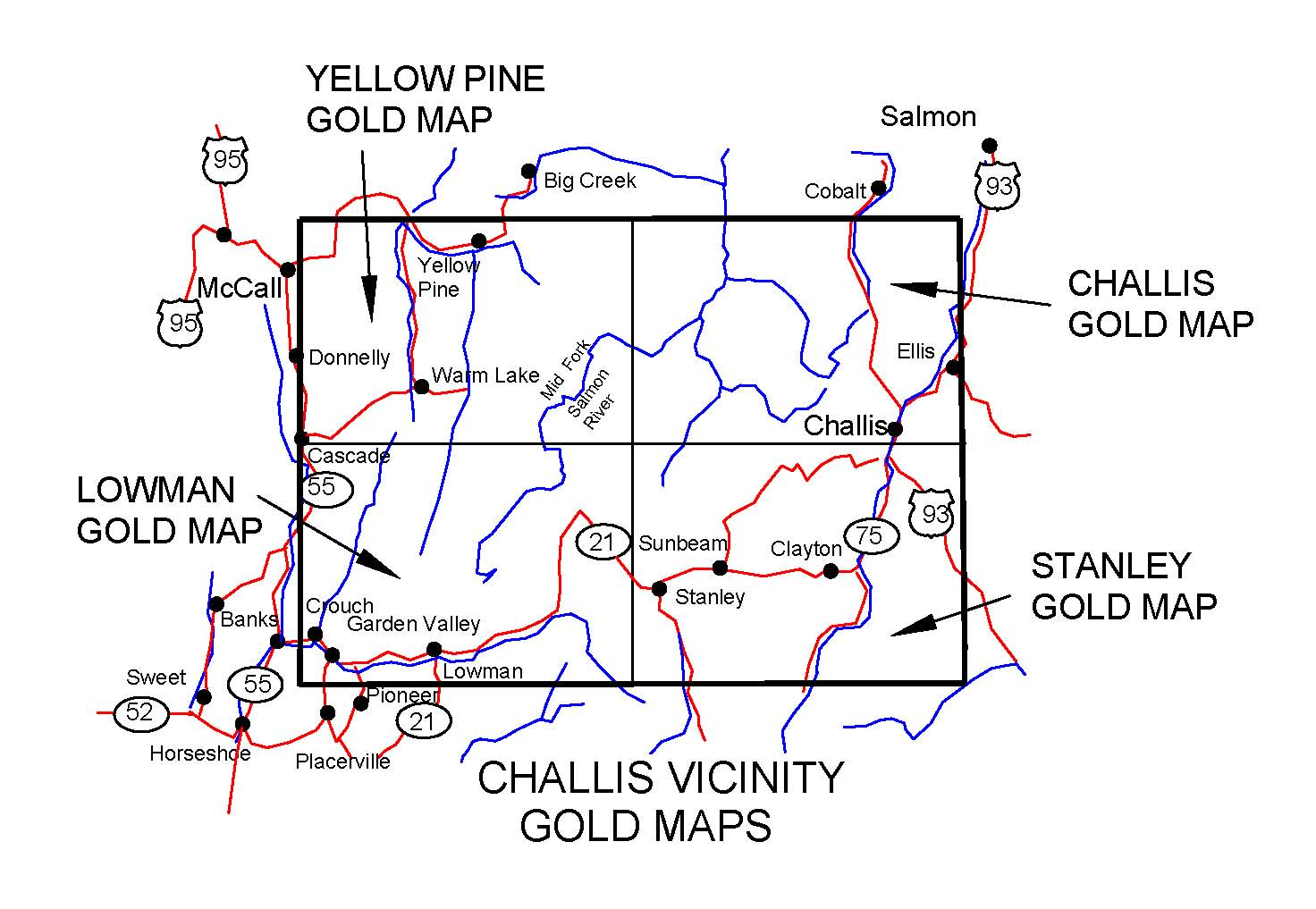Idaho Gold Maps Gold Placers And Gold Panning And Metal Detecting