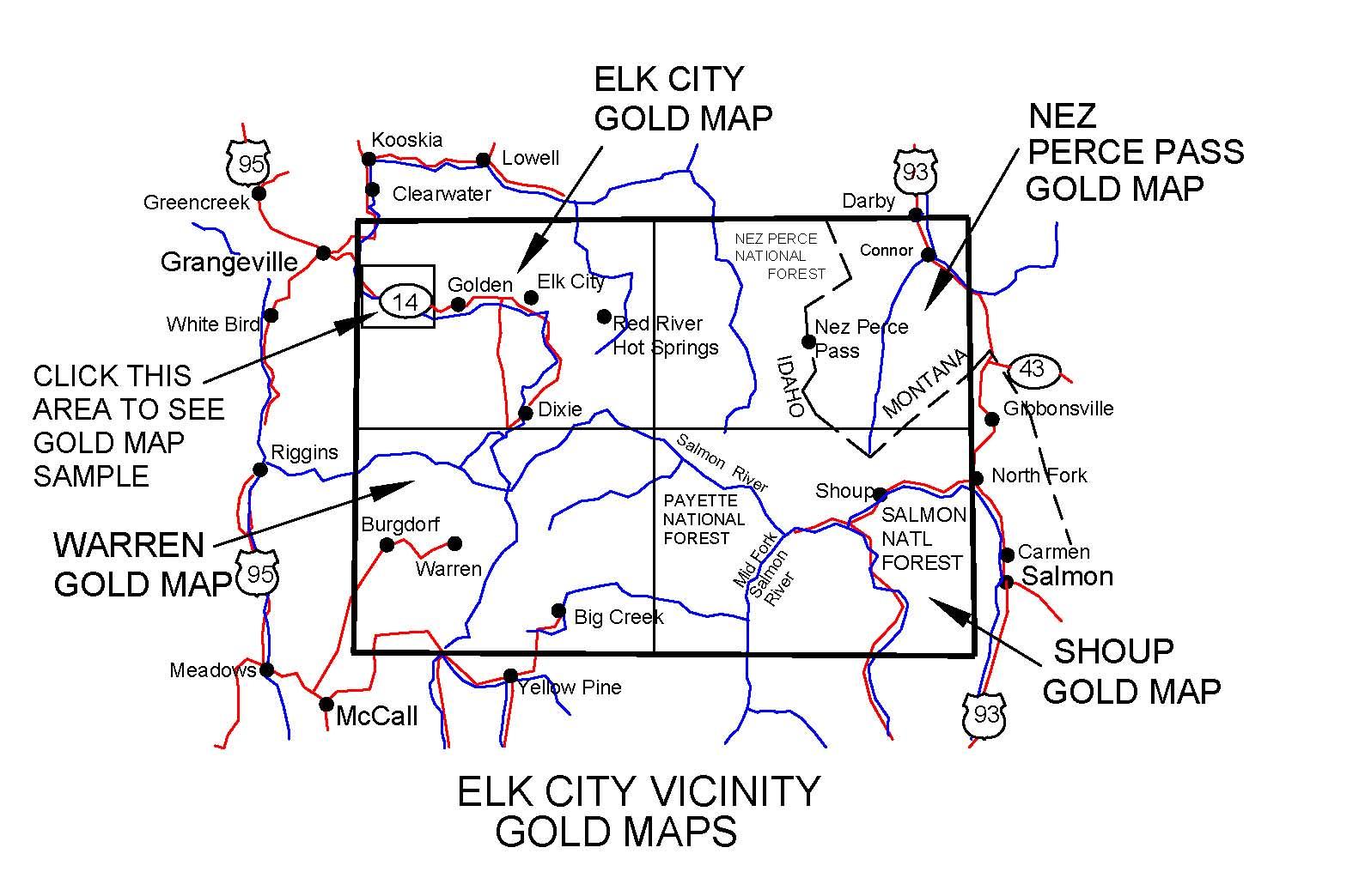big creek idaho map Idaho Gold Maps Gold Placers And Gold Panning And Metal Detecting big creek idaho map