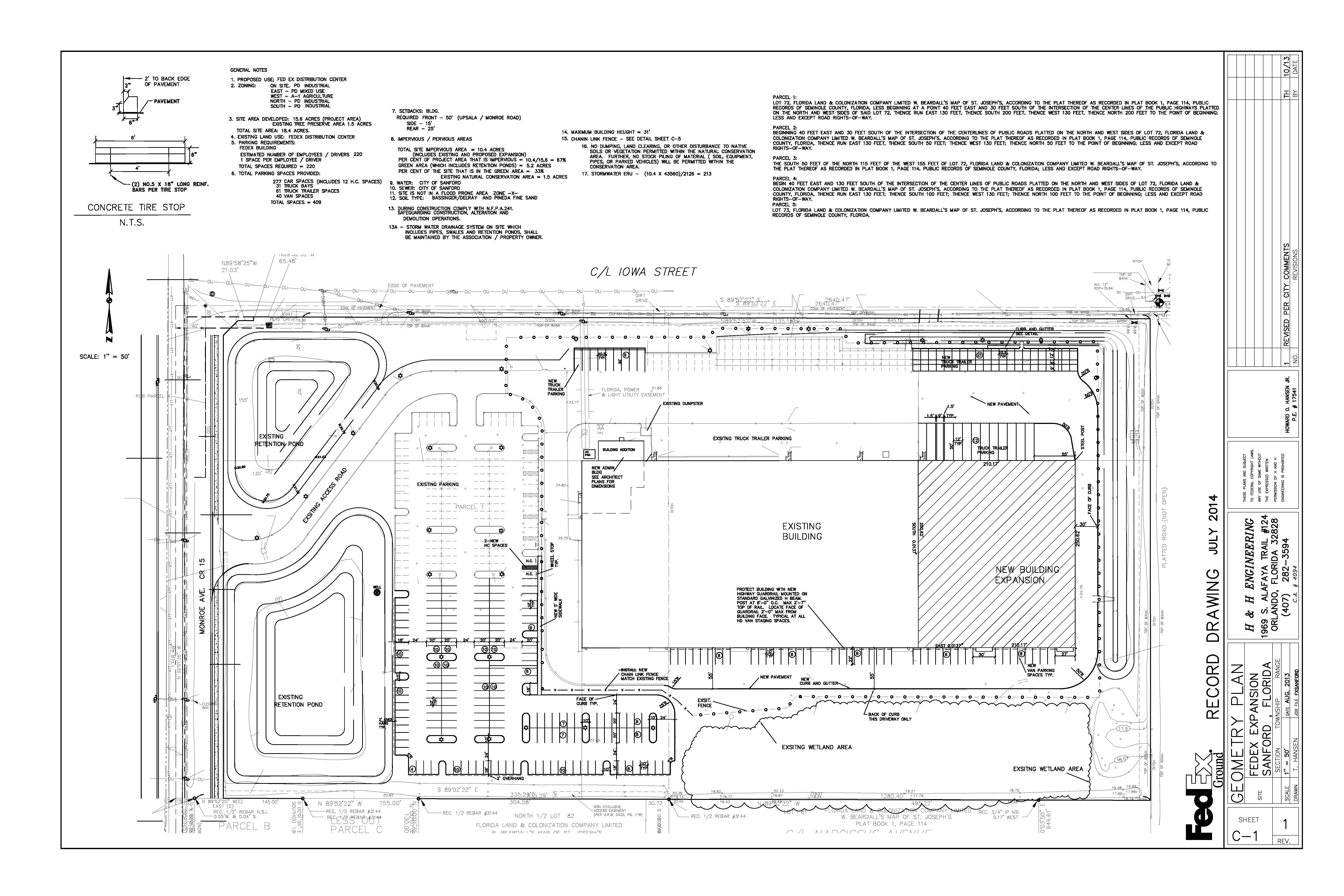 FEDEX SANFORD FLORIDA CIVIL ENGINEERING DESIGN AND PERMITTING