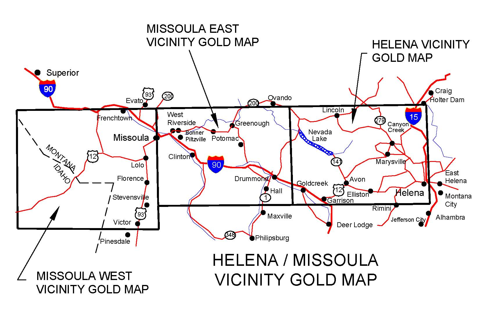 MONTANA GOLD MAPS, GOLD PLACERS AND GOLD PANNING AND METAL DETECTING ...