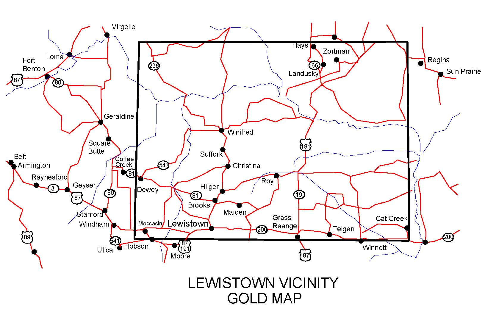 Lewiston Montana Map.Montana Gold Maps Gold Placers And Gold Panning And Metal Detecting