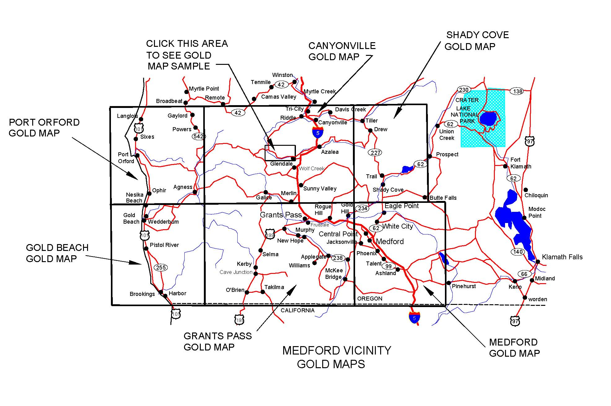 Oregon Gold Maps Gold Placers And Gold Panning And Metal Detecting