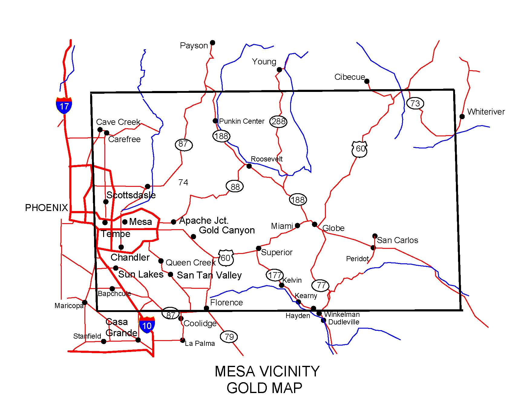 Show Me The Map Of Arizona.Arizona Gold Maps Gold Placers And Gold Panning And Metal Detecting