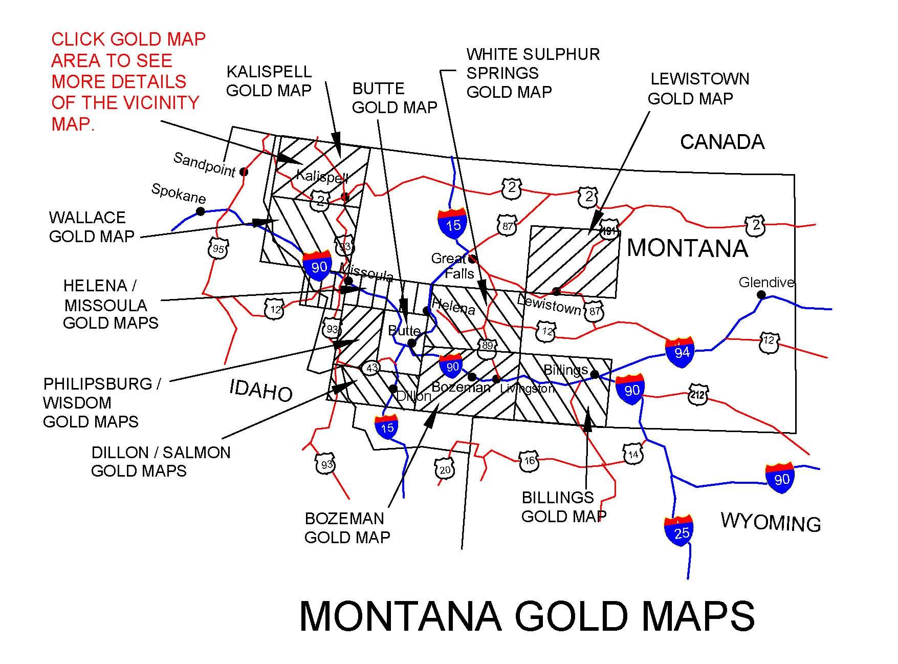MONTANA GOLD MAPS, MONTANA GOLD PANNING, MONTANA GOLD