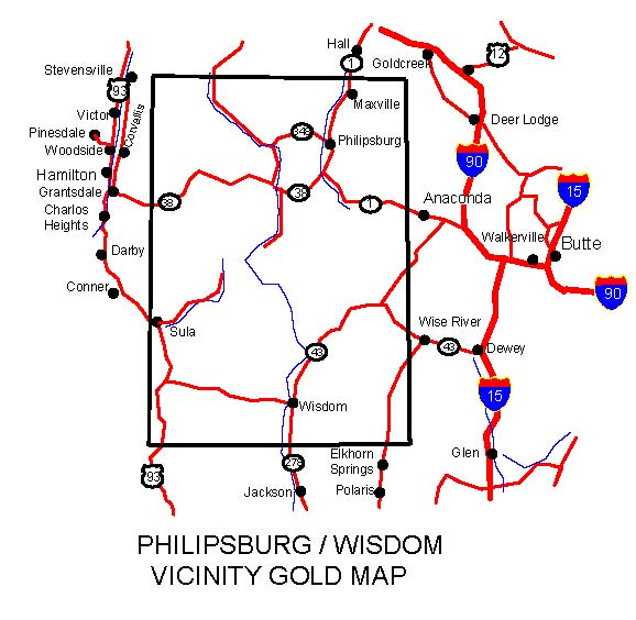 MONTANA GOLD MAPS GOLD PLACERS AND GOLD PANNING AND METAL