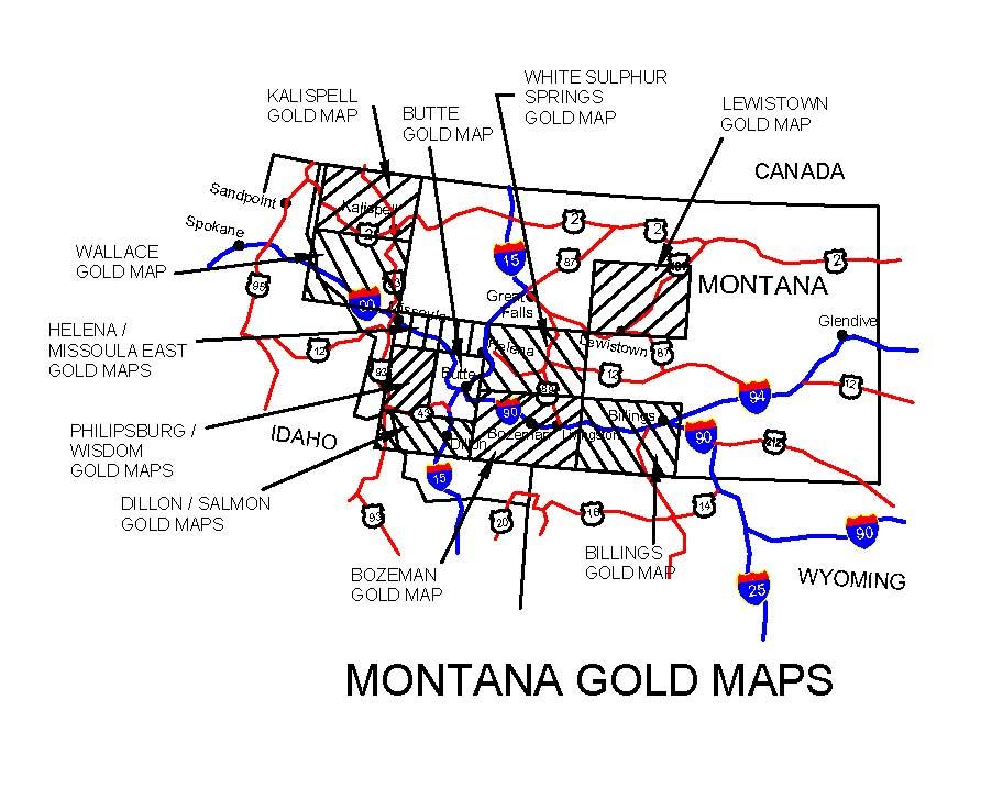 MONTANA GOLD MAPS MONTANA GOLD PANNING MONTANA GOLD