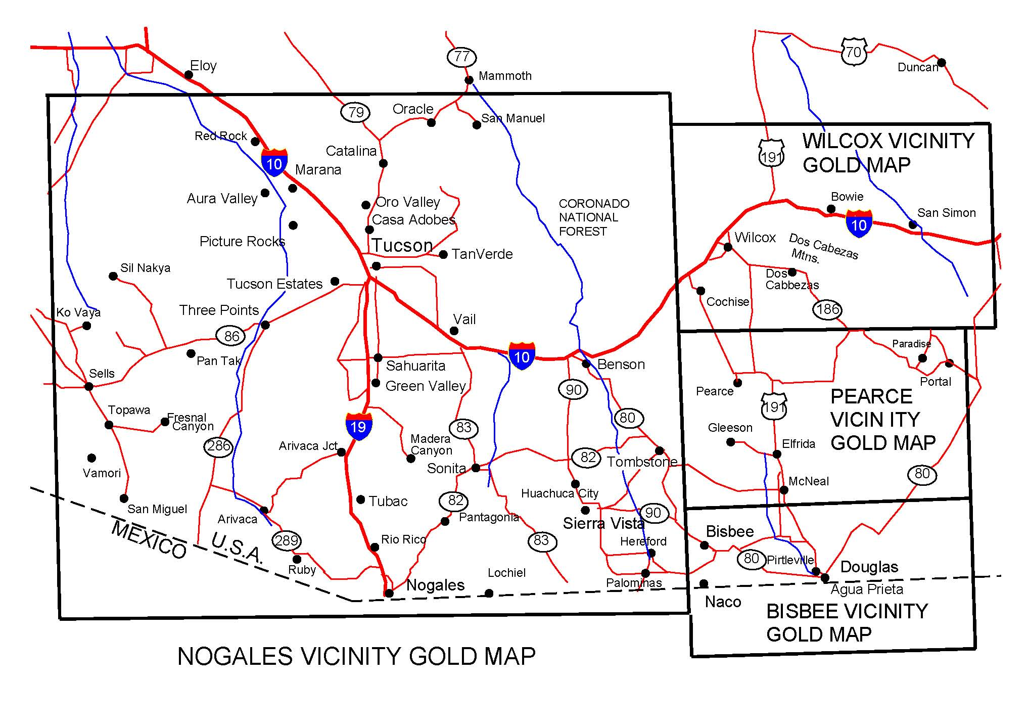 Ruby Arizona Map.Arizona Gold Maps Gold Placers And Gold Panning And Metal Detecting