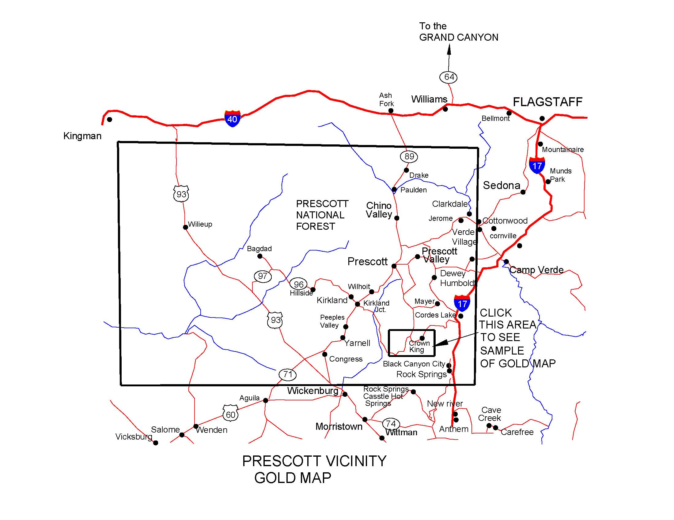 Map Of Arizona Prescott.Arizona Gold Maps Gold Placers And Gold Panning And Metal Detecting