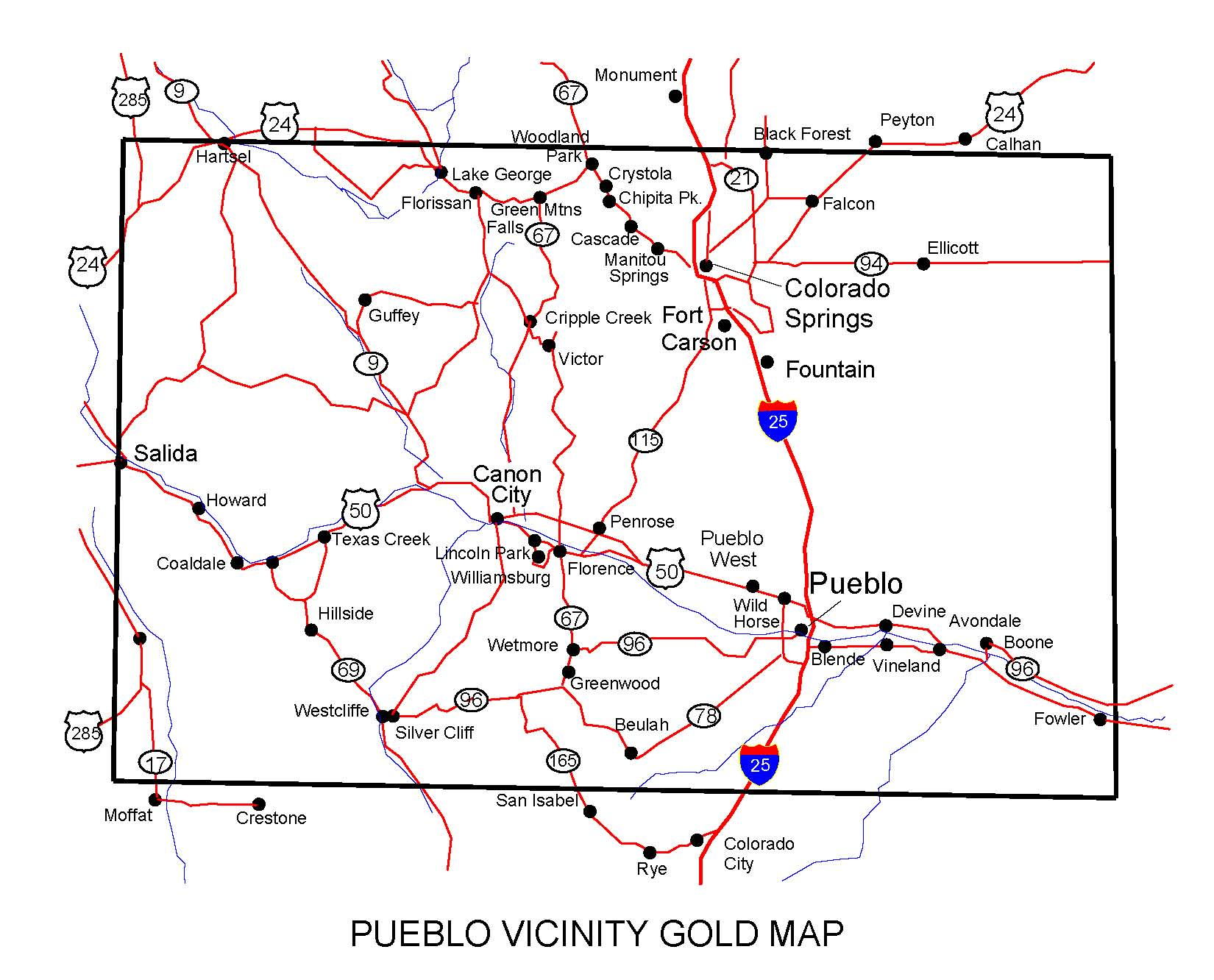 Colorado Gold Maps Gold Placers And Gold Panning And Metal