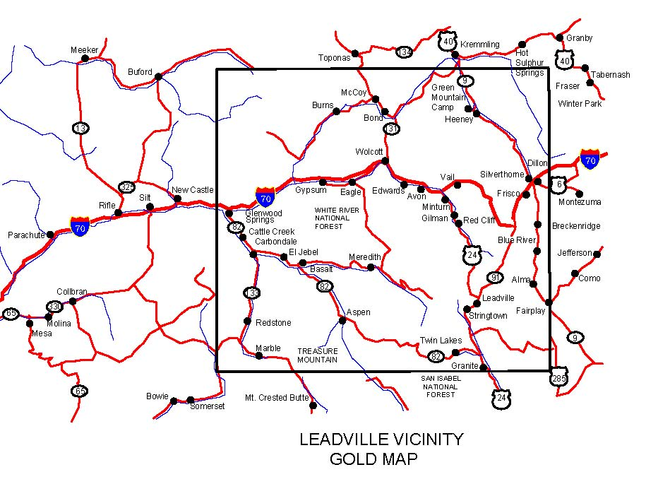 Colorado Gold Maps Placers And Panning Metal: Colorado Map Leadville At Usa Maps