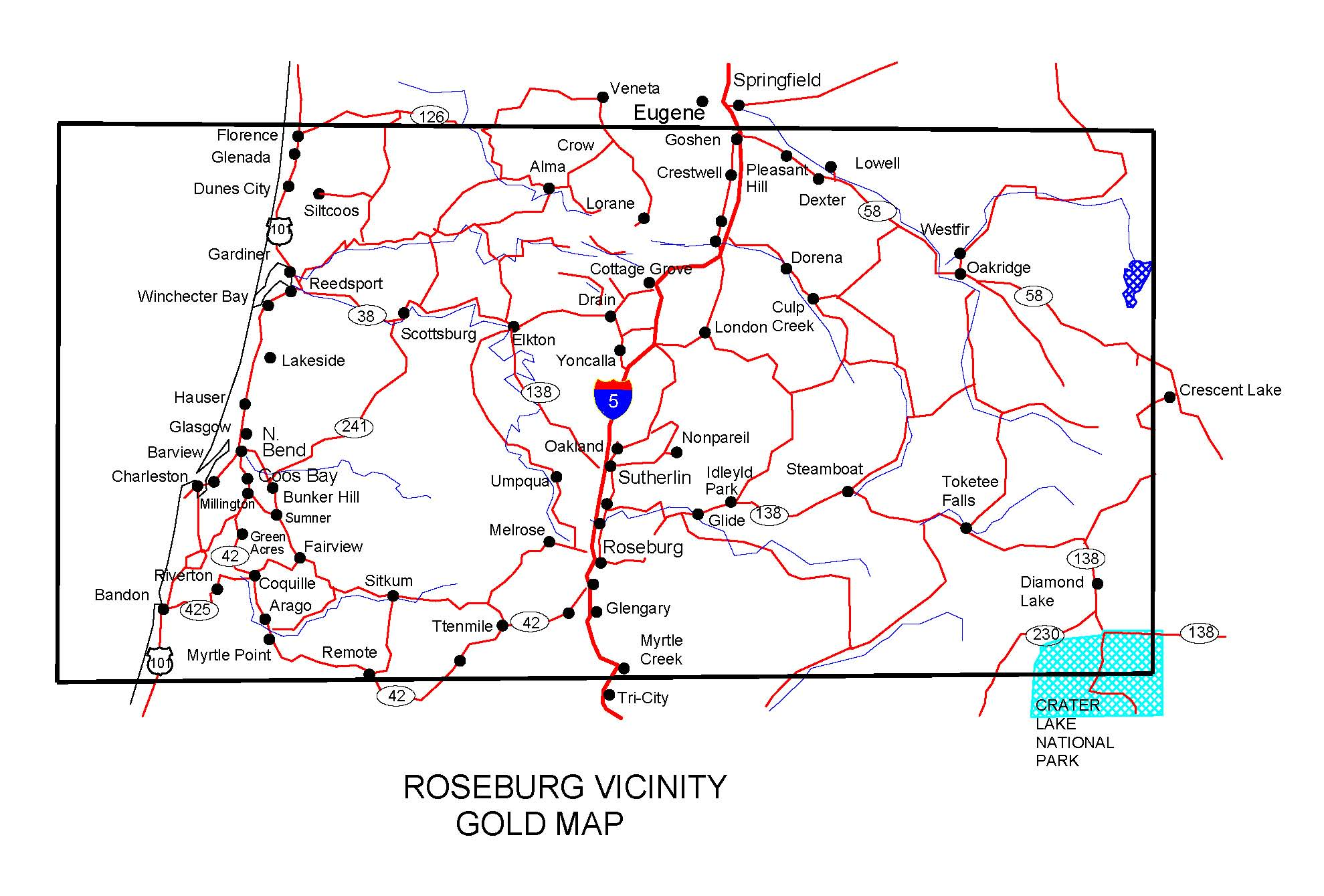 Ghost Towns In Oregon Map.Oregon Gold Maps Gold Placers And Gold Panning And Metal Detecting