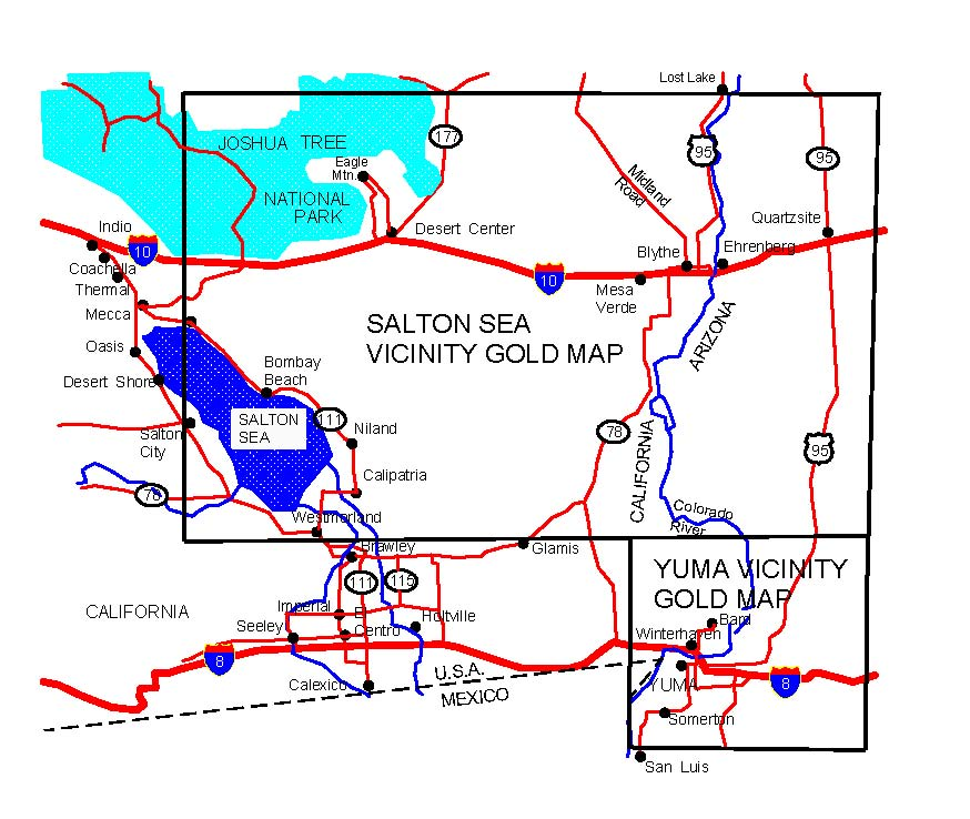 ARIZONA GOLD MAPS GOLD PLACERS AND GOLD PANNING AND METAL - Salton sea on us map