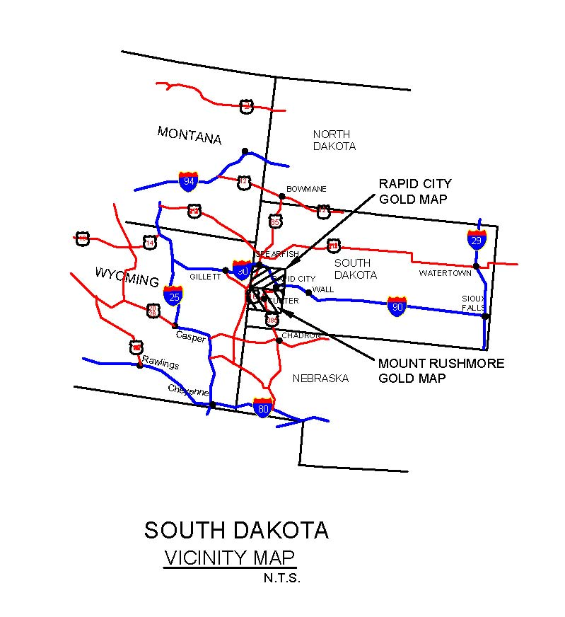 SOUTH DAKOTA GOLD MAPS GOLD PLACERS AND GOLD PANNING IN SOUTH - South dakota map with towns