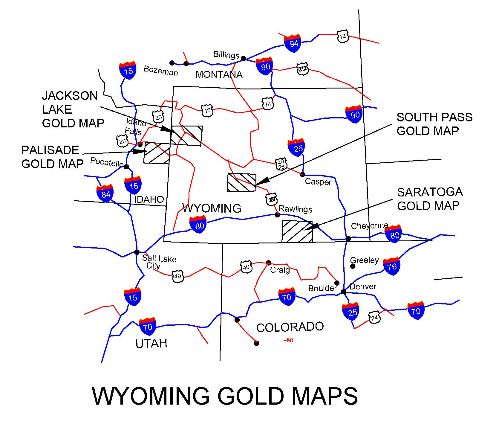 WYOMING GOLD MAPS, GOLD PLACERS AND GOLD PANNING IN WYOMING, GOLD ...